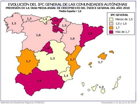 IPC 2010 por CCAA Funcas