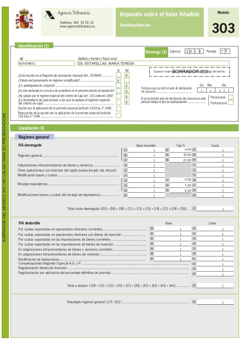 Modelo 303 en la Declaración trimestral de IVA para autónomos - Blog ...