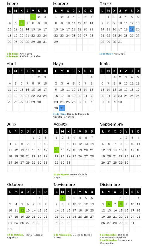 calendario-laboral-2016-de-castilla-la-mancha - Blog de Opcionis