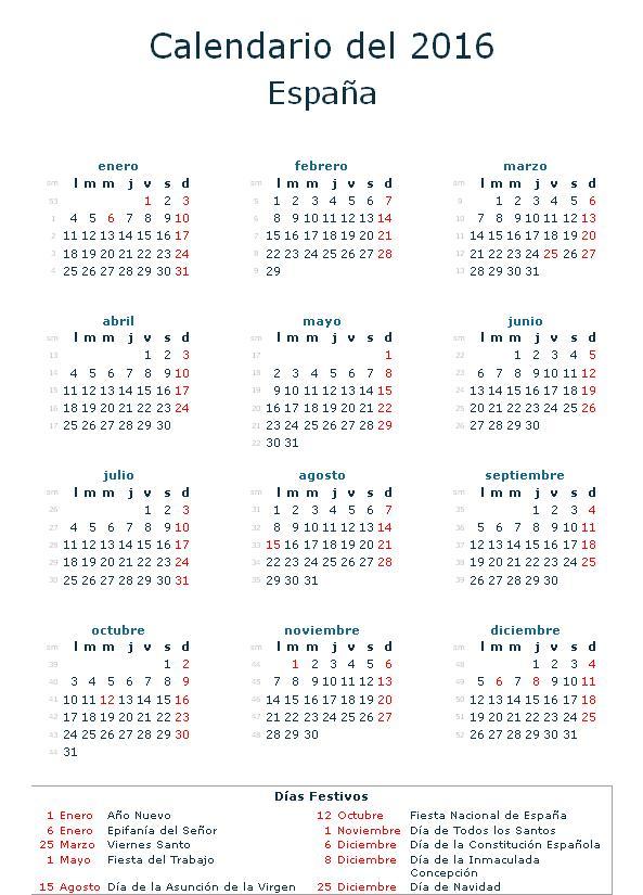 Festivos Nacionales 2016 - Blog de Opcionis