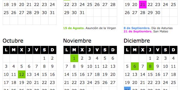 fechas calendario laboral 2016 asturias