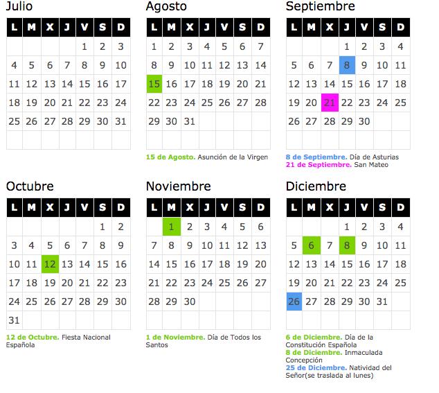 Calendario laboral 2018 asturias blog de opcionis for Festivos valladolid 2017