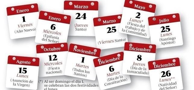 Festivos Nacionales en el Calendario Laboral 2016-Madrid