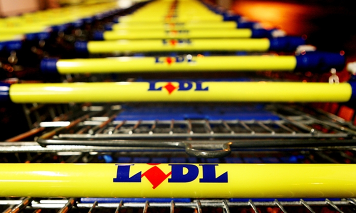 Lidl supermarket trollies, trolleys in Lowestoft, Suffolk.