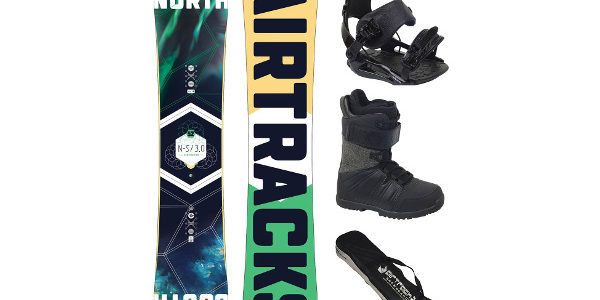 Mejores tablas de snowboard para comprar en 2019 Tabla North South Wide de Airtracks con fijaciones y botas