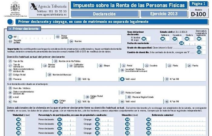 modelo 100 irpf declaración de la renta
