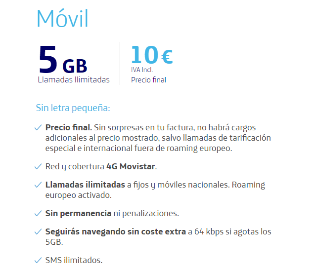 movil 5gb tarifas o2
